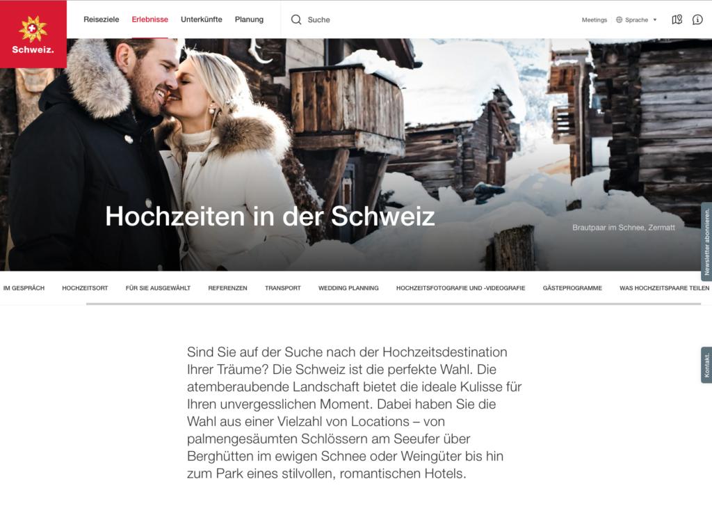 Heiraten im Tourismus – Hochzeiten in der Schweiz